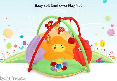 Baby Soft Cartoon Sunflower Gym Blanket with Frame Rattle Crawling Toy Play Mat