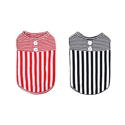 Red/Black Striped T-Shirt Round Collar Tee Coat Clothes For Small Pet Dog Puppy