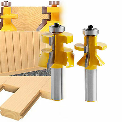"""2Pcs Matched Tongue&Groove V-Notch Router Bit 1/2 """"shanks Wood Cutting Tool"""