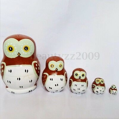 Russian Owl Nesting Dolls 5pcs Set Hand Painted Tiny Matryoshka Babushka New