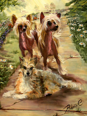 """Chinese Crested group dog art print  size """"8 x 10"""""""
