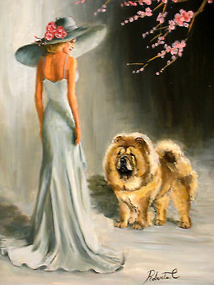 "Chow Chow with lady dog art print size ""8 x 10"""