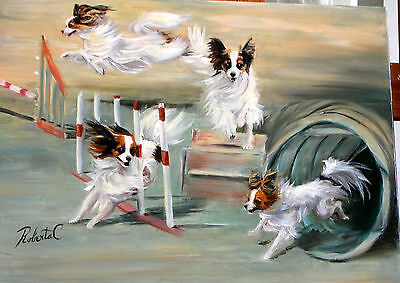 Papillon agility limited edition print dog art print