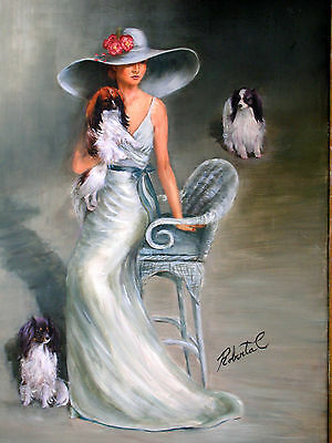 Papillon with lady on chair  dog art print art