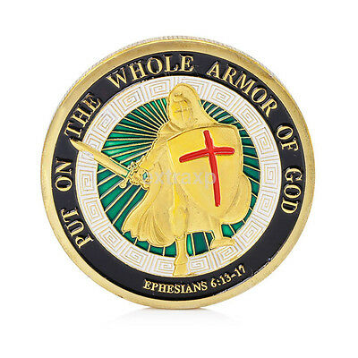 New Put on the Whole Armor of God Ephesians 6-13-17 Challenge Coin Color Bible