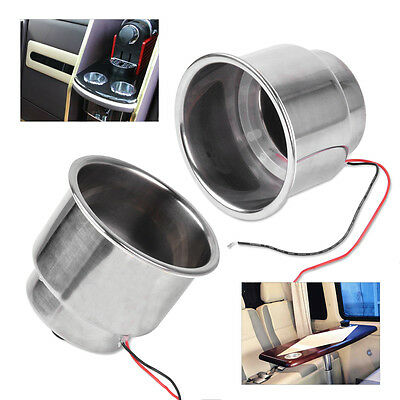 2pcs Blue 8 LED Stainless Steel Cup Drink Holder fit For Marine Boat Car Truck