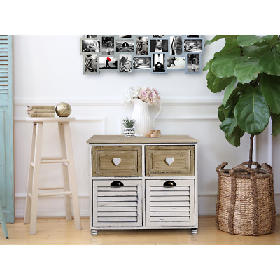 Mobili Rebecca® Cupboard Sideboard 4 Drawer Light Wood White Country Hall Kitche