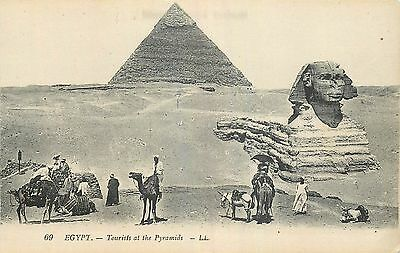 Cp Egypte Tourists At The Pyramids - Sphinx - Ane - Chameaux Ll