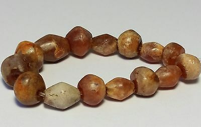 15 Ancient Rare Bicone Carnelian Patinized Agate Beads