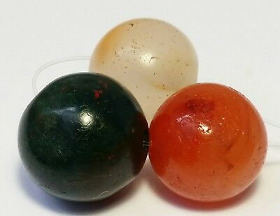 3 ANCIENT RARE CARNELIAN, AGATE, SERPENTINE BEADS (11mm to 12mm)