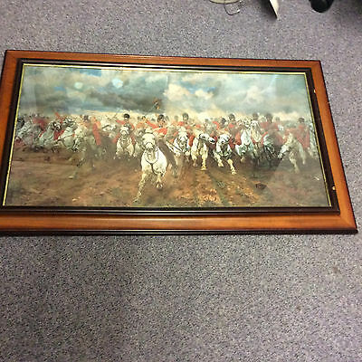 Medium Size Antique Colour Print,  Charge Of The Light Brigade ? Framed