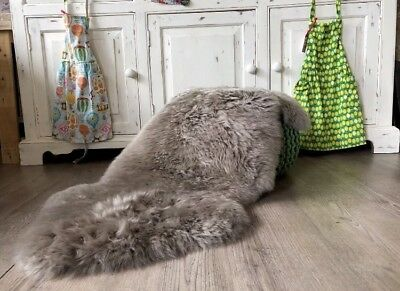 Genuine SILVER grey Taupe sheepskin rug XXL Super size eco pelt STUNNING  Fur