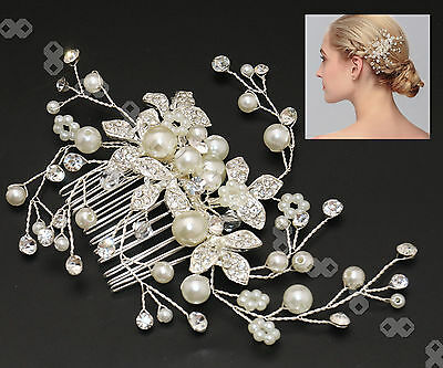 Crystal And Pearl Wedding Bridal Hair Pin Vintage Statement Side Comb Vine Prom