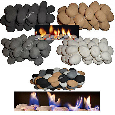 10 Stones 4 gas fire replacement coals/pebbles Choice Of White/Black/Grey/Beige