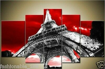 5PC Red days Eiffel Tower painting modern art wall hangings (no frame)