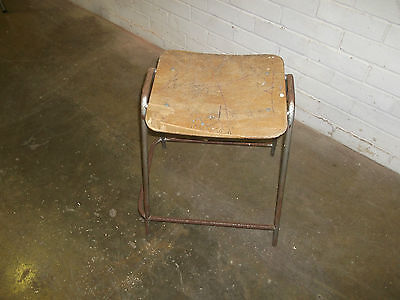 Vintage Retro Wooden and metal School Laboratory Workshop Art Room Stool
