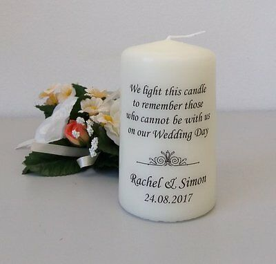 Personalised Wedding Absence or Memorial Candle Swirls 2017 (Candlelight)