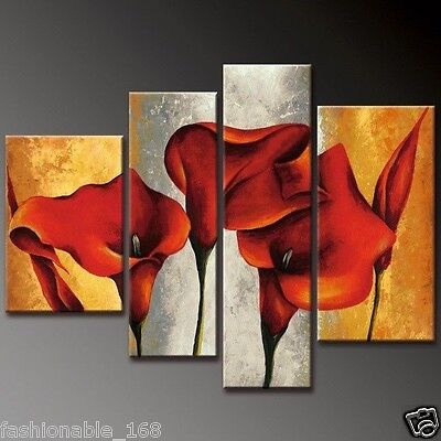 Beautiful 4pc Abstract Huge Wall Decor Art Oil Painting On Canvas - Lily