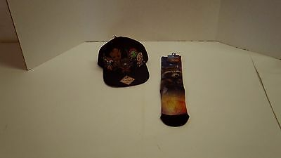 NEW Marvel Guardians Of  Galaxy Characters Hat,Rocket Crews,StarLord Wallet Lot3
