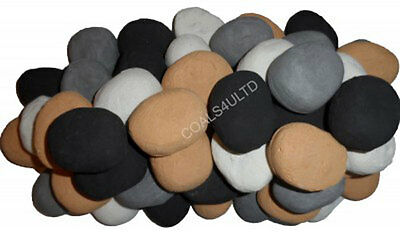 30 Replacement mixed Large Pebble cast coals for gas fire Biege/Grey/Black/WHITE