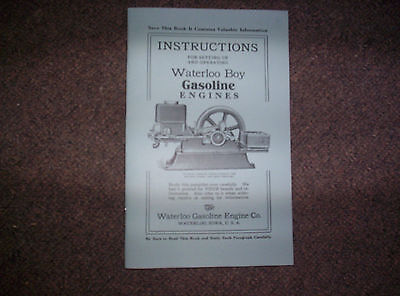 New Re-Print Early Waterloo Boy Hit Miss Gas Engine Parts & instruction Book !!
