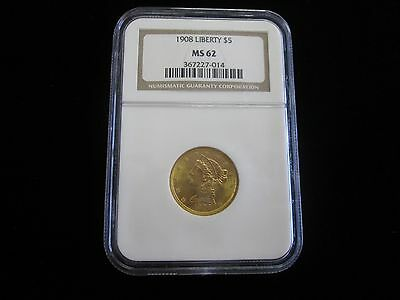1908 $5 Gold Liberty Head NGC MS 62 NICE COIN PRICED TO SELL BUY IT TODAY