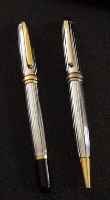 VGC Set of 2 Montblanc Silver Pens Ball Point Black Silver Gold with Black Box