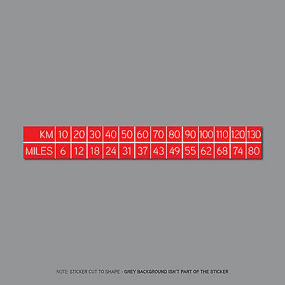SKU2567 - MPH to KM/H Conversion Sticker - Red With White Text