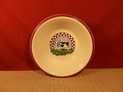 Century Stoneware Fannie's Farm Pattern Soup Bowl 8 1/8""