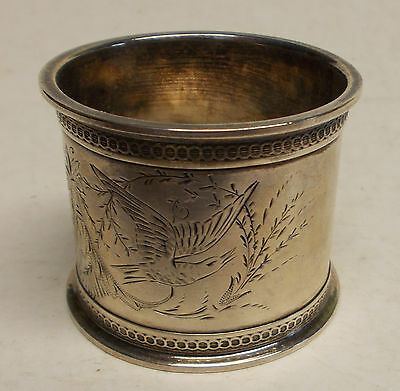antique sterling silver ETCHED BIRDS & FLOWERS NAPKIN RING  VICTORAIN 1800's