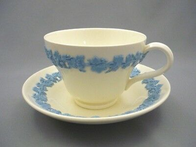 Vintage Wedgwood Embossed LAVENDER on CREAM Queensware Tea Cup & Saucer Teacup