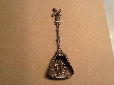 Vintage Holland Sugar Spoon Silver Plate Repousse Turning Windmill Dutch Scene