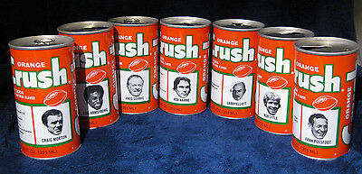 Lot of 7 1970's NFL DENVER BRONCOS ORANGE CRUSH POP SODA CAN Steel Pull Tab 12oz