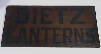 """Antique DIETZ LANTERNS 17"""" x 8"""" Wood Crate Side Panel Store Advertising Sign"""
