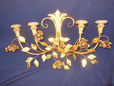 Vintage Italian Toleware Wall Sconce Gilt Gold Finish Hollywood Regency