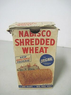 Vintage 1953 Nabisco Shredded Wheat Box Small Family Package Niagara Falls Knife