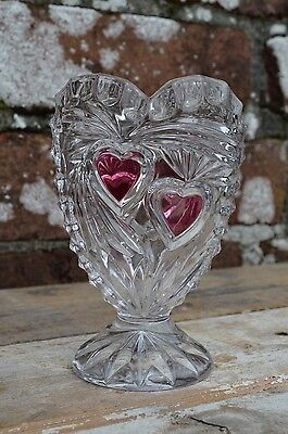 1960s Small Cut Glass Posy Flower Vase With Red Heart Design