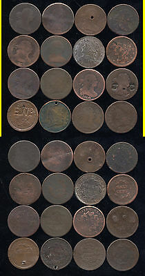 Lot Of 16 Mixed Half Cents- Scarce- No Reserve
