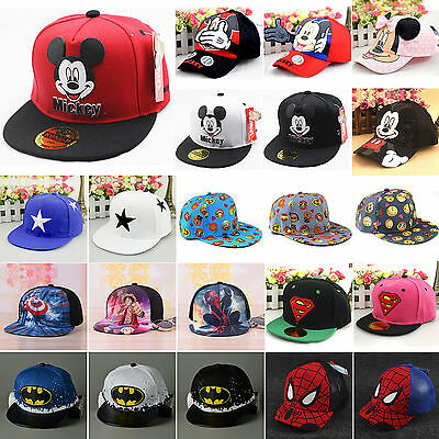 Toddler Boys Girl Superhero Mickey Hip Hop Baseball Hat Sun Cap Bowknot Handband