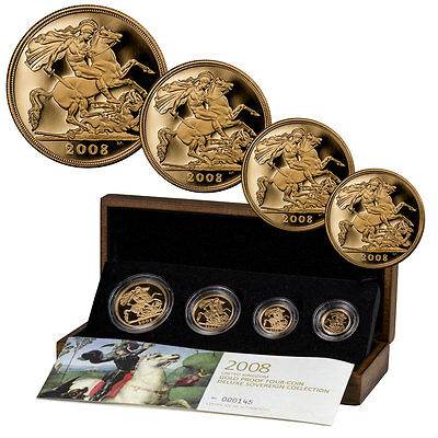 Set of 4 - 2008 Great Britain Sovereigns Proof Coins in OGP SKU42997
