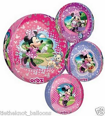"""Birthday Party Minnie Mouse 15"""" Ultra Shape Orbz Foil Balloon Round"""