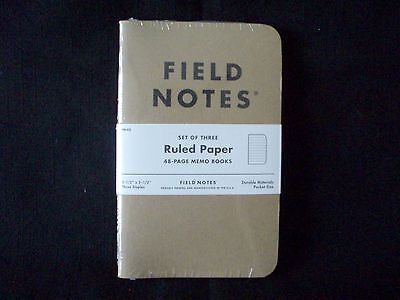 FIELD NOTES - Set of 3 Ruled Paper 48 page Memo Books- Pocket Size 3-1/2 x 5-1/2