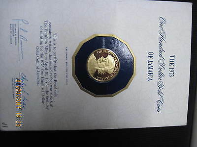 Jamaica 1975 100 dollars gold Proof Columbus First Day of Minting sealed
