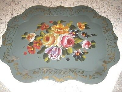 Large Hand Painted Floral Antique Sage Green Tole Wall Mantle or Buffet Tray