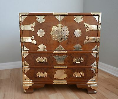 Vintage Asian Brass Trimmed Campaign Style Cabinet Chest Chinoiserie