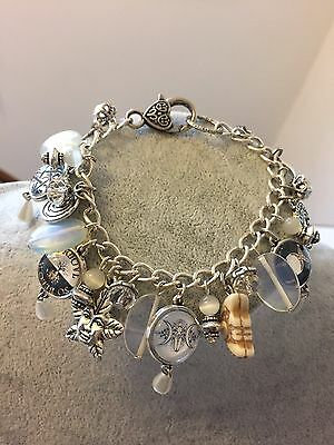 Wicca Symbolic Charm Bracelet - Pagan Jewellery, Goddess Pentacle White Witch