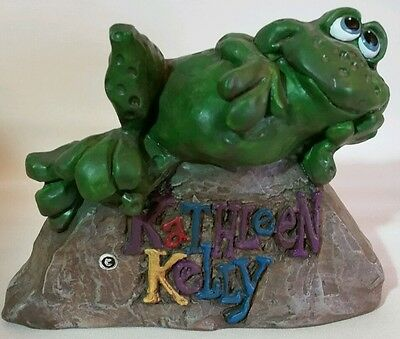 "Kathleen Kelly Adorable Frog Laying On Rock Sign 5"" w x  4"" t - SEE PHOTOS"