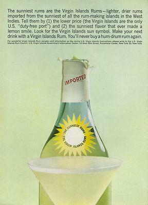 1964 Virgin Island Rum PRINT AD  VIntage Bottle Daiquiri great decor