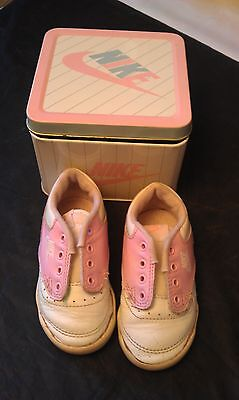 Vintage Leather 1990 Nike Swoosh Pink/white Baby Shoes & Tin Shoe Box-Nice