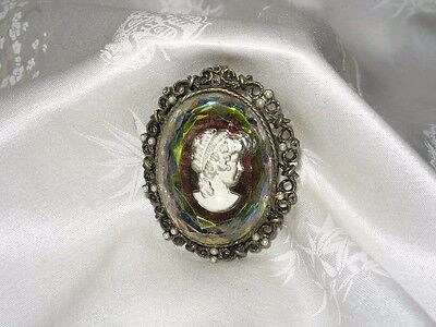 Vintage 1960's Watermelon Glass Cameo Pin Brooch / Pendant